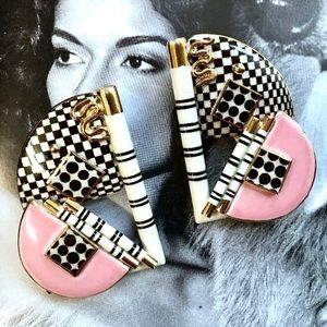 Vintage 80s/90s sculptural porcelain earrings